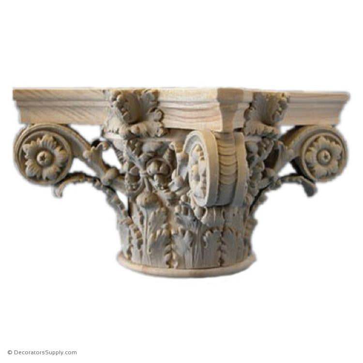 Stain Grade Wood Capital [Round] - Italian Renaissance Corinthian Zorzi-hand-built-Decorators Supply