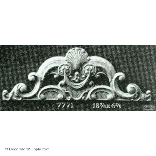 Cartouche-French 6 7/8H X 18 7/8W - 5/8Relief-appliques-for-woodwork-furniture-Decorators Supply