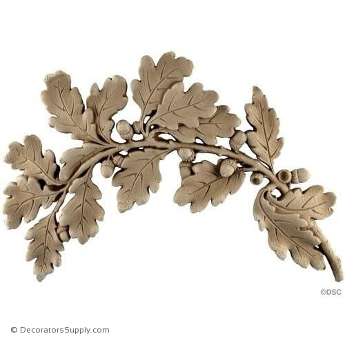 Oak Leaves-Right Side -French Ren. 11H X 16 5/8W - 5/8Rel-ornaments-furniture-woodwork-Decorators Supply