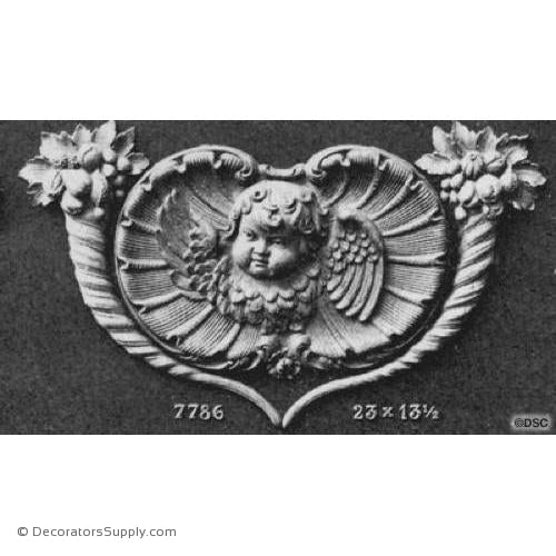 Fruit and Cherub-Ren. 13 1/2H X 23W - 1 1/8Relief-ornaments-furniture-woodwork-Decorators Supply