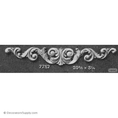 Leafy Scroll Design - Ren. 3 1/4H X 20 3/8W - 3/8Relief-ornaments-for-woodwork-furniture-Decorators Supply