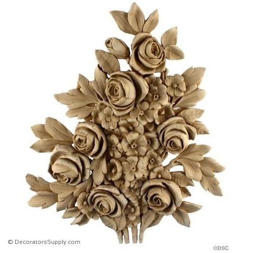 Rose Bush - French 13 1/4H X 11W - 1 1/4Relief-ornaments-furniture-woodwork-Decorators Supply