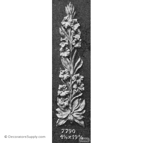 Floral - Modern 19 3/8H X 4 1/4W - 3/8Relief-appliques-for-woodwork-furniture-Decorators Supply