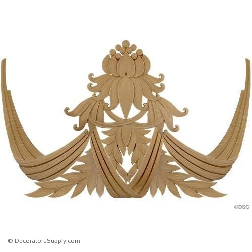 Modern Lotus Motif - 21 3/4H X 37 7/8W - 3/8Relief-ornaments-for-woodwork-furniture-Decorators Supply