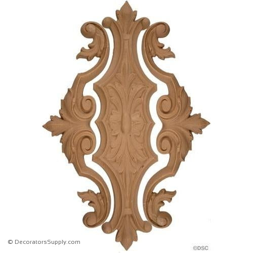 "Vertical Design 10 High 6 1/2 Wide 3/8"" relief-ornaments-for-woodwork-furniture-Decorators Supply"