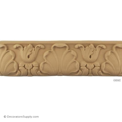 Bell Flower and Shell Linear - French 3 7/16H - 1/2Relief-woodwork-furniture-lineal-ornament-Decorators Supply