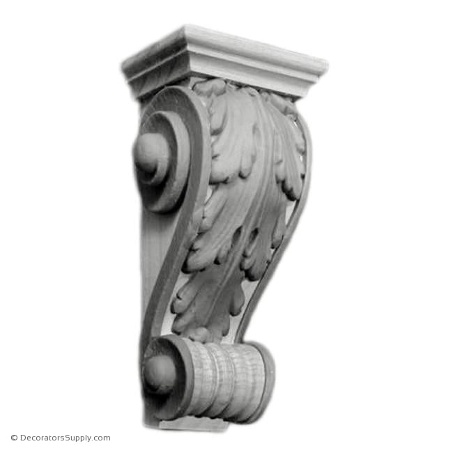 "Plaster Corbel-Classic- 2"" Tapers-1""W x 1.5""P x 4 1/4""D-varied-sizes-Decorators Supply"