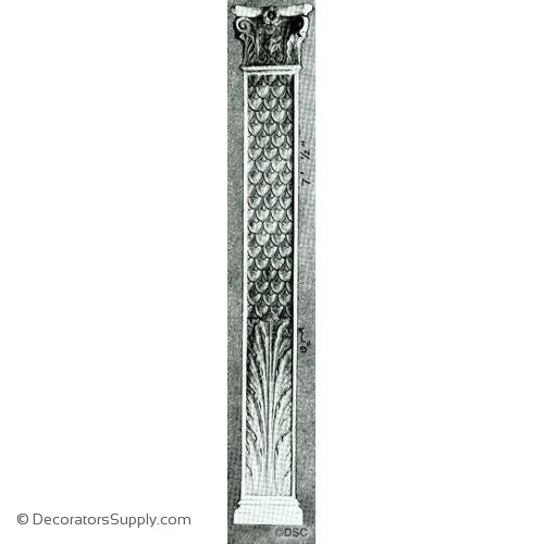 "Pilaster - Fish Scale - 84  1/2H X 13  1/2W - Shaft 9"" Wide"