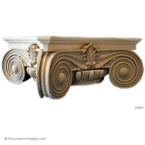 Stain Grade Wood Capital [Round] - Modern Ionic Semi-Classic-hand-built-Decorators Supply