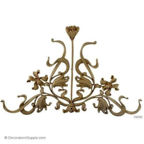 Flower Design - Art Nouveau 12 3/4H X 21 3/4W - 1/2Relief-ornaments-for-woodwork-furniture-Decorators Supply
