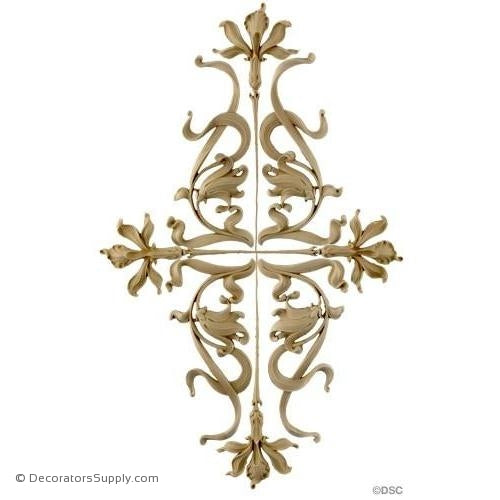 Flower Design - Art Nouveau 22 3/4H X 14W - 3/8Relief-ornaments-for-woodwork-furniture-Decorators Supply