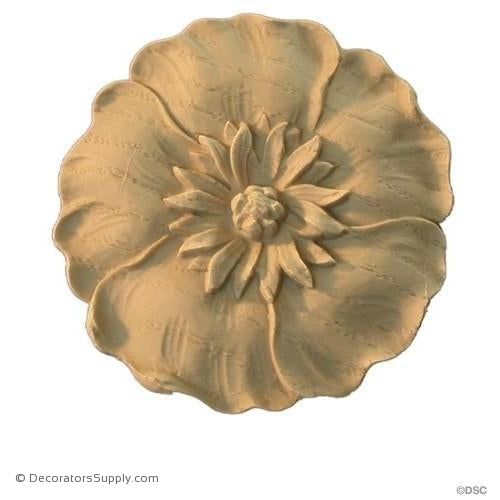 Poppy Flower Rosette - Art Nouveau 3H X 3W - 3/16Relief-woodwork-furniture-ornaments-Decorators Supply