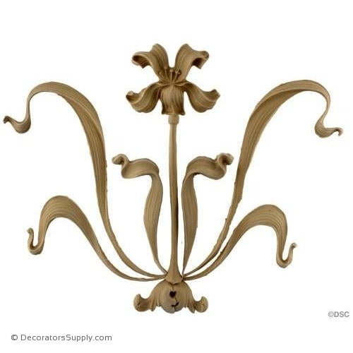 Floral Design - Art Nouveau 9 1/2H X 11 1/2W - 1/2Relief-ornaments-furniture-woodwork-Decorators Supply