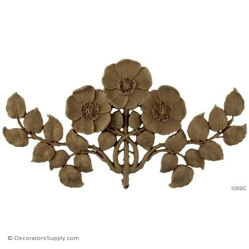 Poppy Flower - Art Nouveau 6 1/2H X 11 1/2W - 1/2Relief-ornaments-for-furniture-woodwork-Decorators Supply