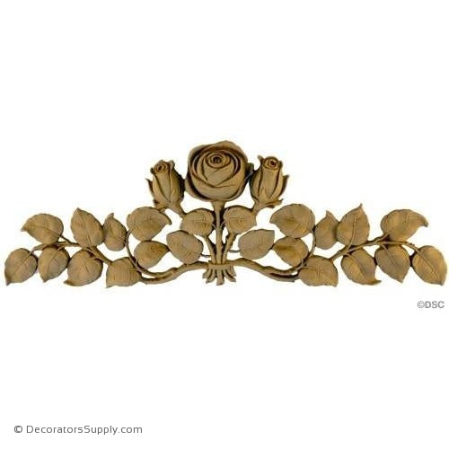 Rose - Art Nouveau 4 1/2H X 13 1/4W - 3/4Relief-ornaments-for-furniture-woodwork-Decorators Supply