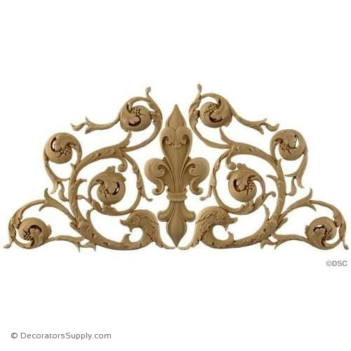 Fleur De Lis Design-Italian 11 3/4H X 25 3/4W - 3/8Relief - Decorators Supply