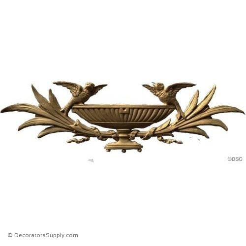Basket-Birds and Branches-Adams 4 1/4H X 14 3/4W - 1/4Rel-ornaments-for-furniture-woodwork-Decorators Supply