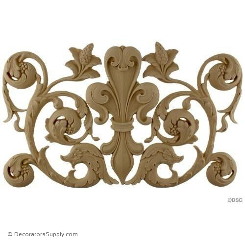 Fleur de Lis w/ Scrolls - 9 3/4H X 15 3/4W - 3/8Relief - Decorators Supply