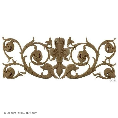 Fleur de Lis w/ Scrolls - 10H X 24W - 3/8Relief - Decorators Supply