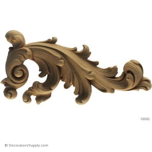 Leaf Scroll - Rococo - Louis XIV 7H X 3 1/4W - 3/4Relief-ornaments-for-furniture-wooodwork-Decorators Supply