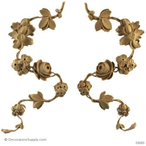 Rose Drops - Rococo - Louis XV 9 3/4H X 4 1/2W - 5/8Relief-ornaments-furniture-woodwork-Decorators Supply