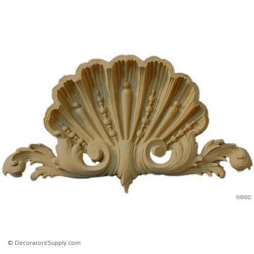 Shell - Rococo - Louis XIV 5 3/4H X 10 1/8W - 1Relief-ornaments-for-woodwork-furniture-Decorators Supply