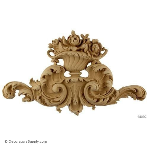 Floral Basket - Rococo -Louis XV 9H X 15 1/4W - 1 1/4Relief-appliques-for-woodwork-furniture-Decorators Supply