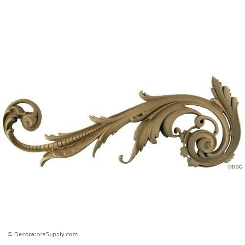 Scroll - Rococo - Louis XV 10 1/2H X 26W - 1 3/4Relief-ornaments-for-furniture-wooodwork-Decorators Supply