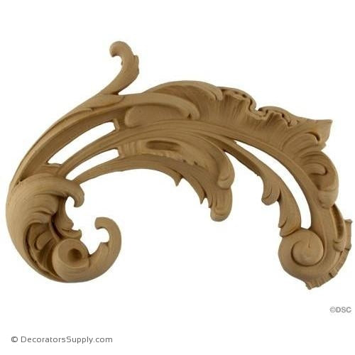 Scroll - Rococo - Louis XV 9H X 12W - 1 1/2Relief-ornaments-for-furniture-wooodwork-Decorators Supply
