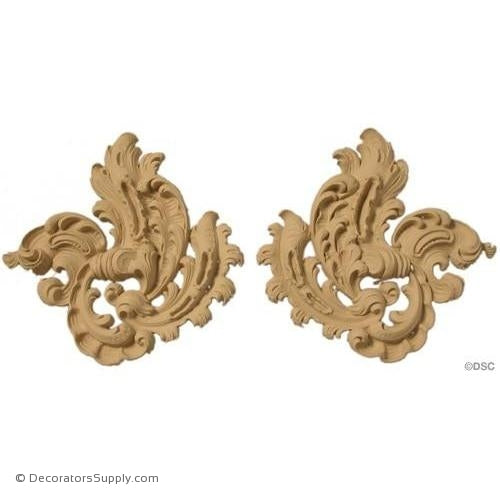 Leaf - Rococo - Louis XV Pr. 8 1/2H X 9W - 5/8Relief-ornaments-furniture-woodwork-Decorators Supply