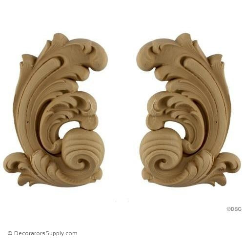Leaf - Rococo - Louis XV Pr. 8 1/2H X 5 1/2W - 1 1/8Relief-ornaments-for-furniture-wooodwork-Decorators Supply