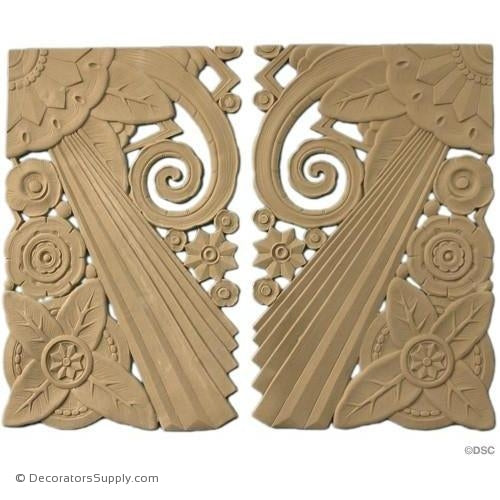 Art Deco- 17 1/2H X 11 1/4W - R&L 3/16Relief-appliques-for-woodwork-furniture-Decorators Supply