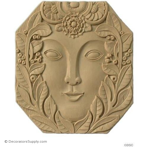 Art Deco-Rosette w/Face - Oval- 7H X 6 5/8W - 3/16Relief-appliques-for-woodwork-furniture-Decorators Supply