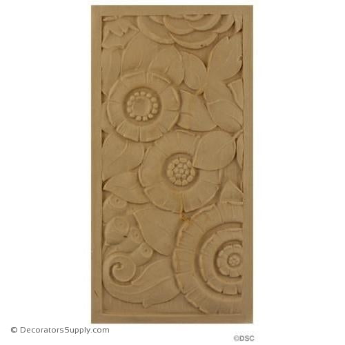 Art Deco-Rosette - Rectangular Shape- 8H X 4W - 5/16Relief-appliques-for-woodwork-furniture-Decorators Supply