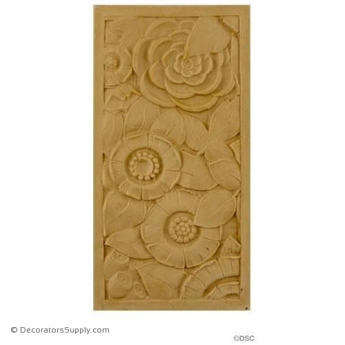 Art Deco-Rosette Design - Rectangular- 8H X 4W - 5/16Relief-appliques-for-woodwork-furniture-Decorators Supply