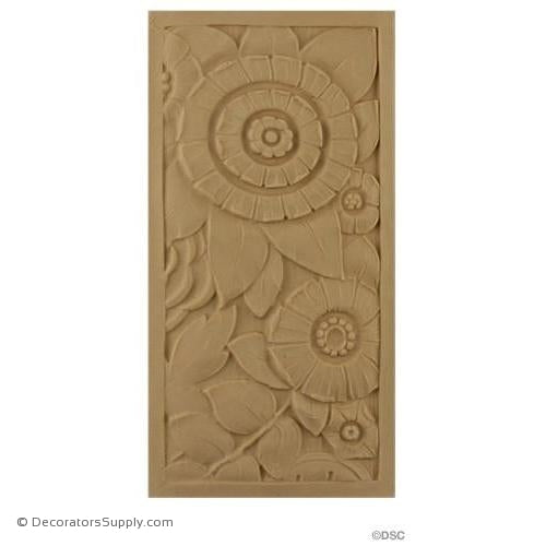 Art Deco-Rosette - Rectangular- 8H X 4W - 5/16Relief-appliques-for-woodwork-furniture-Decorators Supply