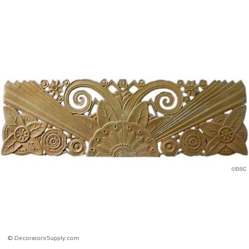 Art Deco Floral- 11 1/4H X 35W - 1/4Relief-appliques-for-woodwork-furniture-Decorators Supply