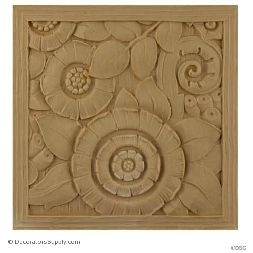 Art Deco-Rosette - Square- 6H X 6W - 3/16Relief-appliques-for-woodwork-furniture-Decorators Supply