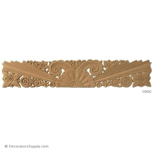 Art Deco Floral - 6 1/4H x 34W - 1/4Relief-appliques-for-woodwork-furniture-Decorators Supply