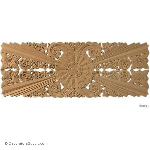 Art Deco Floral- 12 1/2H X 34W - 1/4Relief-appliques-for-woodwork-furniture-Decorators Supply