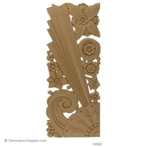 Art Deco Floral- 17H X 6 1/4W - 3/16Relief-appliques-for-woodwork-furniture-Decorators Supply