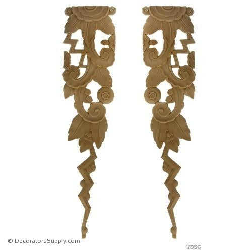 Art Deco-Floral- 25 1/4H X 6W - R&L 1/4Relief-appliques-for-woodwork-furniture-Decorators Supply