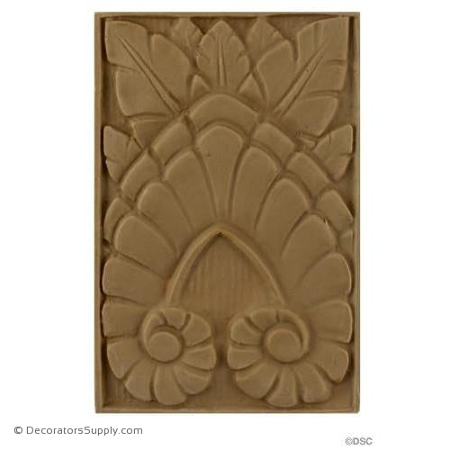 Art Deco- Rosette - 6H X 4W - 1/4Relief-appliques-for-woodwork-furniture-Decorators Supply