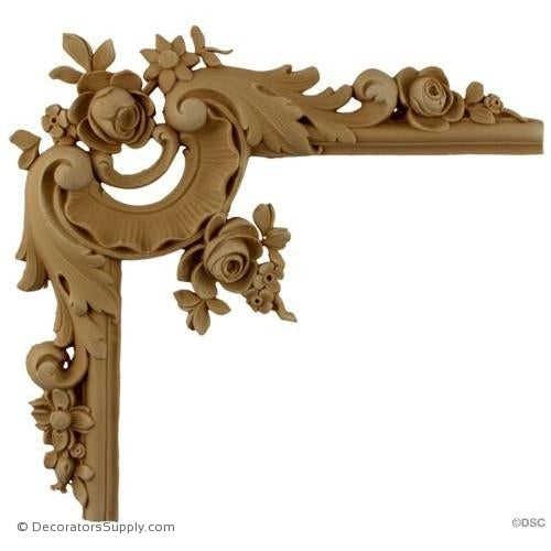 Wall Panel Design - Rococo Rose Corner Ornament - 9H X 9W-ornate-french-Decorators Supply