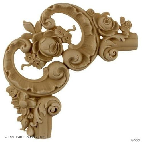 Wall Panel Design - Rococo Rose Corner Ornament - 7H X 7W-ornate-french-Decorators Supply