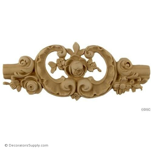 Wall Panel Design - Rococo Rose Center Ornament - 4H X 9W-ornate-french-Decorators Supply
