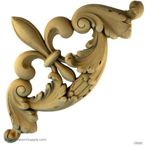 Wall Panel Design - Corner Ornament 11H X 11W - 1 1/4Relief-ornate-french-Decorators Supply