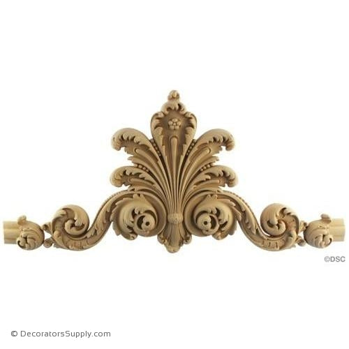 "Wall Panel Design-Center Ornament -W/Cusps 10""H X 18 1/2"" W-appliques-for-woodwork-furniture-Decorators Supply"