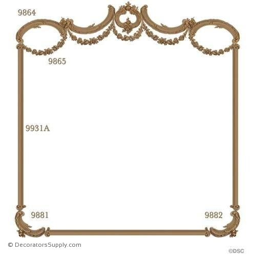 Wall Panel Design 1 Each 9864-9865-9881-9882 12ft 9931A-ornate-french-Decorators Supply