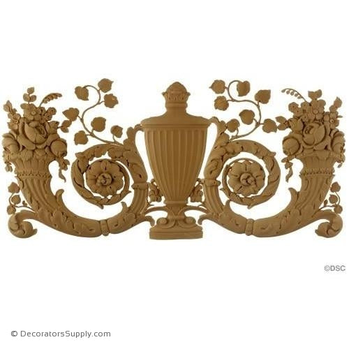 Urn and Cornucopias -Fr. Ren. 11 1/2H X 24 3/4W - 3/8Relie-ornaments-for-woodwork-furniture-Decorators Supply